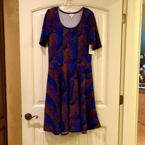 NWT LuLaRoe Knit Blue & Orange Nicole Dress XL
